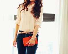Baby pink quarter sleeve blouse, Navy pants *Thin pink belt, clutch