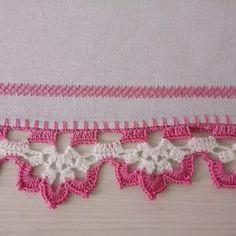 Pano de Prato - Barrado em Crochê - Arte aos 4 Ventos Crochet Lace Edging, Crochet Cardigan Pattern, Crochet Borders, Cotton Crochet, Crochet Doilies, Crochet Stitches, Crochet Home, Love Crochet, Beautiful Crochet