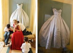 Framed wedding dress - ideas to showcase your dress after the big day.  I would love to have a display case with my wedding dress in my walk-in closet (in my dream house)