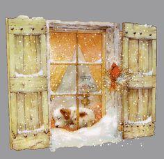 so cute scenes Christmas Photo: Christmas Scene Animated Christmas Towels, Christmas Scenes, Christmas Past, Winter Christmas, All Things Christmas, Vintage Christmas, Christmas Cards, Winter Gif, Cute Alphabet