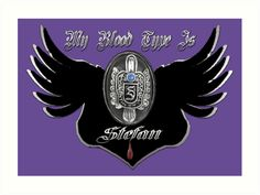 My Blood Type Is Stefan Purple & Black VD Fan Logo | All Prints Available As: Photographic Prints, Art Prints, Framed Prints, Canvas Prints, Metal Prints | Inspired By: The Vampire Diaries
