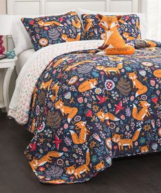 Look at this #zulilyfind! Navy Pixie Fox Quilt Set #zulilyfinds ----- HOW CUTE IS THIS QUILT SET??!?!