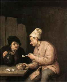 Piping and Drinking in the Tavern by Adriaen van Ostade