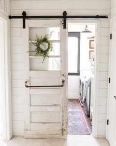 I think every room could be made better with a vintage gymnasium door on a barn door slider! Wouldn't you agree? Farm Door, Diy Barn Door, Sliding Barn Door Hardware, Barn Door With Window, Vintage Doors, Antique Doors, Old Doors, Vintage Door Decor, Old Door Decor
