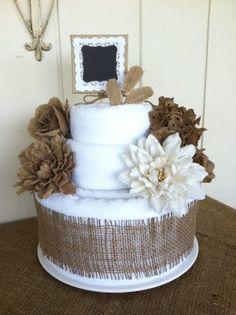 Burlap Cotton Bath Towel Cake  2 Tier for by blossomsnburlap, $85.00