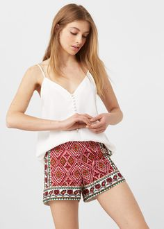 Embroidered cotton shorts   MANGO
