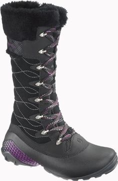 Merrell Women's Winterbelle Peak Waterproof Boot                                 Leather and textile                    Manmade sole                    Bellows tongue                    Compression-molded EVA footframe                    EVA waterproof shell                    Fleece thermo insulation lining                    Molded nylon arch shank