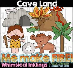 Cave Land Clip Art - Commercial Use, Digital Image, Png, Clipart - Instant Download - Prehistoric, Dinosaurs, Valcano, Caveman, Palm Trees by ResellerClipArt on Etsy