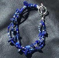 FREE S - Bracelet - Lapis Lazuli Chips With Blue - A JewelryArtistry Original - BR141