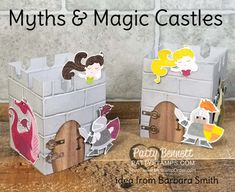 How to make a castle with the Myths & Magic designer paper from Stampin' UP!  Use the brick wall embossing folder and cut out the Knight, dragons and princess with your paper snips!
