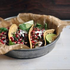Fish Tacos with Pomegranate Salsa: Why Home Cooking is Important - Turntable Kitchen Fish Recipes, Seafood Recipes, Mexican Food Recipes, Healthy Recipes, Quebec, Pomegranate Recipes, Fish Tacos, Food Photo, Love Food