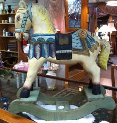 Vintage Wood Hand Carved Painted Toy Rocking Horse
