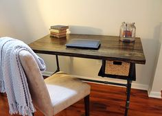 Steel and Wood Side Table by SteelandPine on Etsy