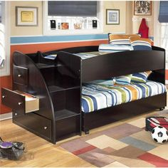 Embrace Youth Twin Loft Bed with Left Stairs | Nebraska Furniture Mart...Halle's new bed!