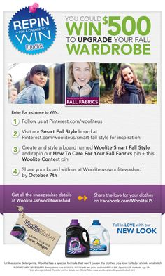 Repin for a chance to win! Win 500 Dollars to Upgrade Your Fall Wardrobe contest details here: woolite.us/woolitewashed