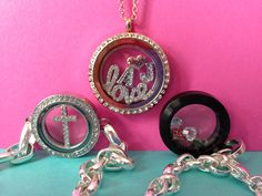 """1/24/14 Large Rose Gold Living Locket with Crystals (LK1017_$38) Large Silver Love Window Plate (WN1001_$16) Mom Heart in Rose Gold Charm (CH6023_$5) Silver Initial A Charm with Crystals (CH8001_$5) Silver Initial J Charm with Crystals (CH8010_$5) 24""""-26"""" Rose Gold 2mm Rolo Chain (CN5011_$12)  Medium Silver Link Locket with Crystals (LK3006_$34) 7"""" Silver Link Locket Bracelet Chain (BR1002_$22) Medium Silver Cross Window Plate (WN1006_$14)  Medium Black Living Locket with Crystals…"""