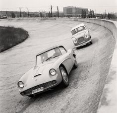 "Prototype cars  ""Syrena Sport"" and ""Syrena Minibus"" at a track in factory FSO in Warsaw 1961."