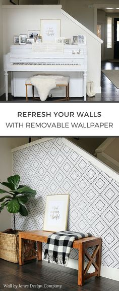Bring a little love to your walls this spring. With over 200 removable and reusable wallpaper designs, /wallsneedlove/ makes high impact design as easy as peel, stick, repeat. Of Wallpaper, Wallpaper Designs, Friends Wallpaper, Bedroom Wallpaper, Peel And Stick Wallpaper, Screen Wallpaper, My Living Room, Living Spaces, Tiny Living