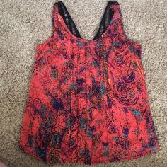 Tank Orange patterned tank with buttons down the middle. Detailed back. Lush Tops Tank Tops