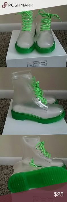 Cute Rain Boots Nice clear and green rain boots.  Brand new. Smoke free.  Various sizes. Shoes Winter & Rain Boots