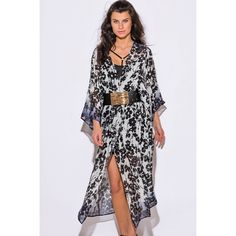 """Floral Print Sheer Kimono #561-S Whether you are rocking a mini dress or your favorite denim outfit, throw over this gorgeous chiffon kimono jacket to add a trendy bohemian vibe to the look. Featuring open front, tunic length and kimono sleeves. Ultra light and flowy chiffon also makes it perfect as a beach cover up! Unlined. 100%. Polyester. Made in USA. Model is 5'9"""", chest 32C, waist 25"""", hips 35"""", and she is wearing a small.       BELT NOT INCLUDED W by Wenjie Swim Coverups"""