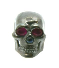 SKULL RING BURNING! silver burnished 2 carats of rubies and sapphire. Dogale Jewellery Venice Italy