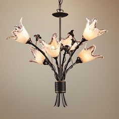 Fioritura Collection Six Light Tulip Glass Chandelier