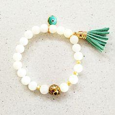 Boho Mint Tassel Bracelet with Gold Skull & Evil Eye Charm