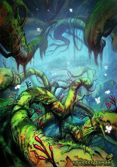 ArtStation - fantasy forest, Youssef Zamani