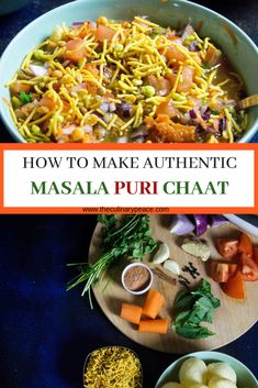 How to make authentic Bangalore/Mysore style Masala Puri Chaat- Grab all these ingredients and get ready to put together the perfect chaat for you, your family and your guests. Street food from India comes home in style. North Indian Recipes, Indian Food Recipes, Vegetarian Recipes, Snack Recipes, Dinner Recipes, Cooking Recipes, Vegetarian Starters, Cooking Pork, Indian Snacks