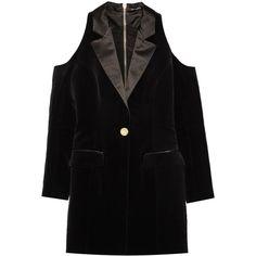 Balmain Cutout satin-trimmed cotton-velvet mini dress ($920) ❤ liked on Polyvore featuring dresses, black, short dresses, cut out dresses, zipper dress, zipper mini dress and cutout mini dress