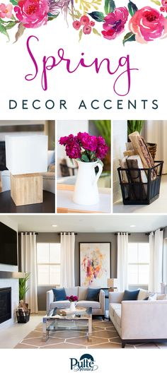 Simple home decor ideas that pop! Add visual interest by adorning your living room with bright flowers and rustic wood accents. | Pulte Homes