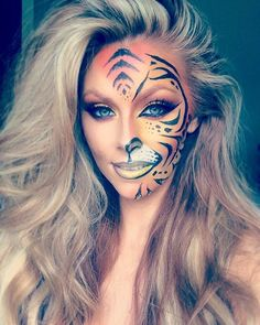 Painting my face tiger print ❤️