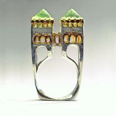 Wow fabulous 'castle' rings by Margot diCono, love it