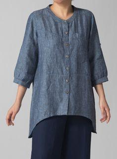 scoop-neck-3-4-sleeve-layering-linen-blouse
