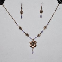 Copper Woodland Flower Necklace and Earring Set 400 by Ziplily