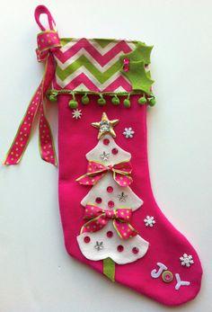 Calcetín de Navidad chicas por matchymishka en Etsy