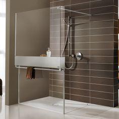Moderne optiek met onvergelijkbare functionaliteit- douchewand met handdoekenrek + opbergruimte douche