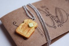 Buttered Toast Necklace - Miniature Polymer Toast Necklace - Food Jewelry