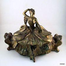 Antique Weidlich Bros Dresser Box Jewelry Casket Lady on Boudoir Bench