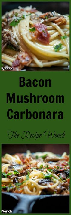 Spicy Bacon Mushroom Carbonara is a showstopper! Spicy peppers, smoky bacon, parmesan and mushrooms converge with a luscious sauce! Bacon Mushroom, Bacon Stuffed Mushrooms, Stuffed Peppers, Easy Pasta Recipes, Cooking Recipes, Delicious Recipes, Recipe Pasta, What's Cooking, Shrimp Recipes
