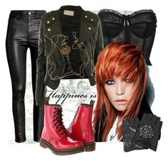 """""""Redhead Bikergirl"""" by victoria-ronson ❤ liked on Polyvore featuring WALL, Dolce&Gabbana, H&M, Tiffany & Co., Karl Lagerfeld and Dr. Martens"""