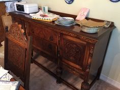 jacobean carved dining  1900 | Dining Room Set, Table 6 Chairs, Buffet, Chest Rockford Furniture ...