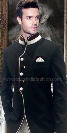 Mens Jodhpuri, stylish jodhpuri, wedding jodhpuri, black jodhpuri, designer jodhpuri www.statusindiafashion.com