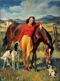 Classic Illustration Postcard - Horses are beautiful creatures. Vintage Cowgirl, Vintage Horse, Vintage Art, Vintage Paintings, Chien Springer, Arte Equina, Posters Vintage, Art Posters, Movie Posters