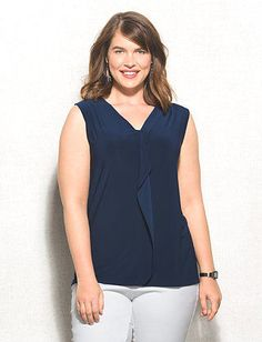 Plus Size Ruffle V-Neck Tank