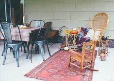 I want this patio. Cute vintage kilim runner rug, nice chairs and table setting. Love it all @sfrugsonline @alicewingerden Thoughts from Alice: Fall Home Tour 2016