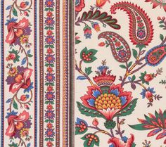 We could be in the tropics with fabrics and trim Textile Patterns, Textile Design, Print Patterns, Textiles, Flower Pattern Design, Paisley Pattern, Border Pattern, Art Floral, Flower Images