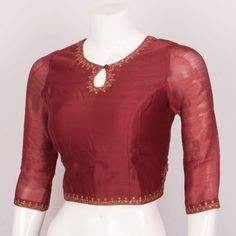 Handcrafted Viscose Cotton Crop Top With Sequin Embroidery & Side Zip 10022223 - Size S - . Crop Top Designs, Simple Blouse Designs, Saree Blouse Neck Designs, Diy Clothes Design, Designer Blouse Patterns, Sequin Embroidery, Clothes For Women, Kurtis, Fashion Design