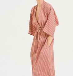 Striped belted kimono dress, blush pink